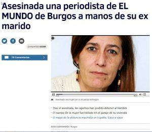 Pantallazo de la noticia del asesinato de una periodista de El Mundo a manos de su expareja . 3 de noviembre de 2016.