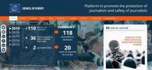 Medidor de alertas contra la libertad en los medios elaborado por el Consejo de Europa.