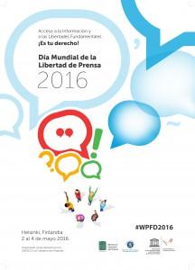 Cartel de Naciones Unidas para celebrar el día mundial de la prensa 2016